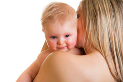 Mother conforting crying infant Stock Photo