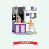 Mother cooking and babysitting her kid. Kitchen interior vector illustration in flat style Royalty Free Stock Image