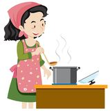 A Mother Cooking Soup. Illustration royalty free illustration
