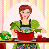 Mother cooking. Woman cooking soup in the kitchen illustrations Stock Photography