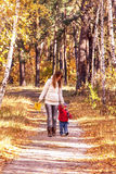 Mother with a crying son on path in the autumnal park. Stock Image