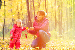Mother and cute little daughter in autumn fall Royalty Free Stock Photography