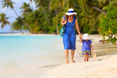 Mother and cute little daughter walking on beach Royalty Free Stock Photo