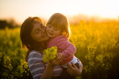 Mother with cute smiling daughter in the rapeseed field during sunset Stock Images