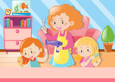 Mother cutting daughters hair at home. Illustration Royalty Free Stock Image