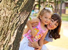 Mother and the daughter. In a park Royalty Free Stock Image