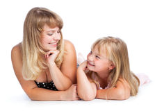 Mother and daughter. Isolated on white background Royalty Free Stock Image