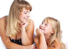 Mother and daughter. Isolated on white background Stock Images
