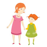 Mother and daughter. Vector illustration of a mother with her daughter Royalty Free Stock Photography