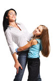 Mother with daughter. On white background Royalty Free Stock Photo