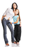 Mother with daughter. On white background Stock Photography