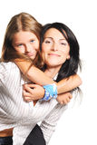 Mother with daughter. On white background Royalty Free Stock Photos