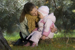 Mother and the daughter. Play the nature together Stock Photos