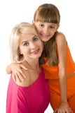 Mother and the daughter. Are photographed on the white background Royalty Free Stock Image