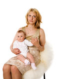 Mother and daughter. Mother holding five month daughter isolated royalty free stock image