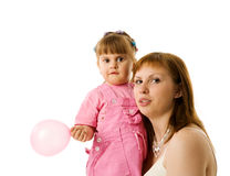 Mother and daughter. Playing together isolated Royalty Free Stock Photography