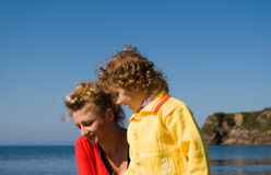 Mother and daughter. At the sea Stock Image