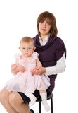 Mother with daughter. Posing together isolated Stock Photo