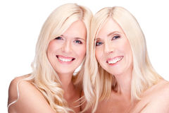Mother and daughter. Natural beauty concept, over white Stock Photo
