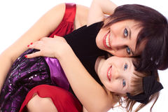 Mother and daughter. Mother women girl daughter embrace love family Stock Images