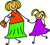 Mother and daughter. Happy mother and daughter holding hands - toddler art series stock illustration