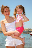 Mother and daughter. At the sea royalty free stock photo