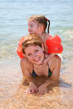 Mother and daughter. On beach royalty free stock image