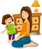 Mother and daughter. Illustration of isolated mother and daughter on white Royalty Free Stock Photography