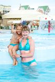 Mother and daughter. On vacation in the water park, thumb Stock Photos