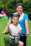 Mother and daughter. China's mother and daughter to play in the park Royalty Free Stock Images