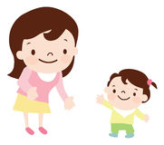 Mother and daughter. Cartoon vector illustration Royalty Free Stock Images