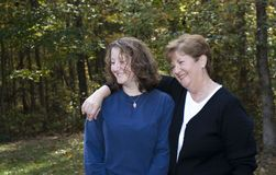 Mother and daughter. Outside--soft focus Stock Images