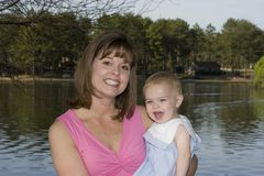 Mother and daughter. At the lake Royalty Free Stock Photos