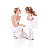 Mother and daughter. On white background Royalty Free Stock Photography