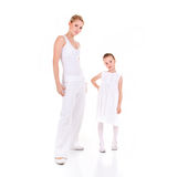 Mother and daughter. On white background Royalty Free Stock Images