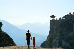 Mother and daughter admire the marvelous panorama of Meteora. Greece stock image