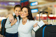 Mother daughter airport Stock Images