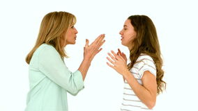 Mother and daughter arguing. In slow motion stock video