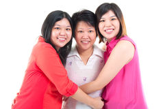 Mother and daughter. Asian senior women and daughters isolated on white background Royalty Free Stock Images