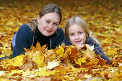 Mother and daughter in the autumn park Royalty Free Stock Photo