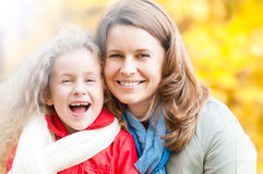 Mother and daughter in autumn park. Stock Photography