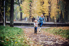 Mother with daughter in autumn park. Mother and daughter having fun in autumn park royalty free stock photos