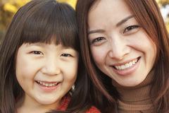 Mother and Daughter autumn Portrait Stock Images