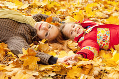 Mother and daughter in autumn yellow park Stock Photo