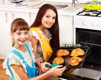 Mother and daughter bake cookies Royalty Free Stock Photography