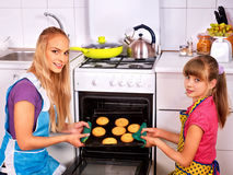 Mother and daughter bake cookies Royalty Free Stock Photo