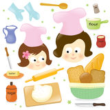 Mother and daughter baking stock illustration