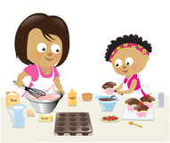 Mother and daughter baking. Illustration of a mother and daughter in the kitchen vector illustration