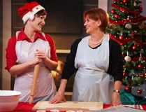 Mother and daughter baking at christmas Royalty Free Stock Image