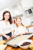 Mother And Daughter Baking Cookies Royalty Free Stock Photos